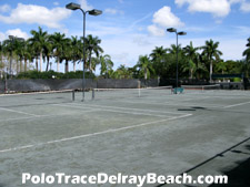 These three lighted, har-tru tennis courts at Polo Trace are a popular recreational amenity. Stop by after work for a vigorous tennis match, and then head over to the pool to cool off.
